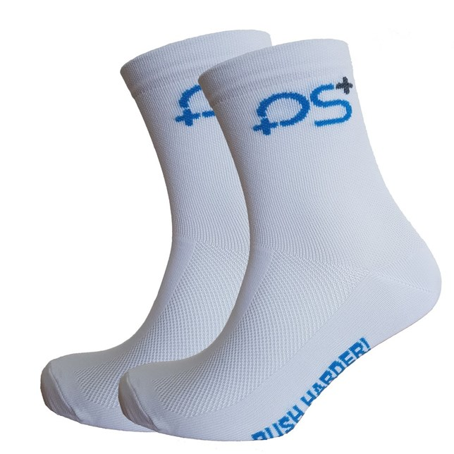 PS+ Diamond High Cuff Sock White Ribbed